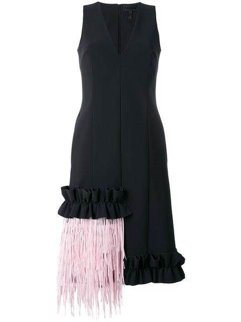 Paskal Fringed Ruffle-trimmed Bonded Stretch-crepe Dress In Black