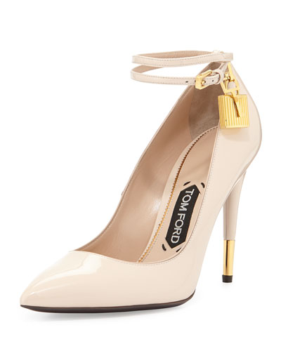 Tom Ford Patent 105Mm Ankle-Lock Pump, Nude