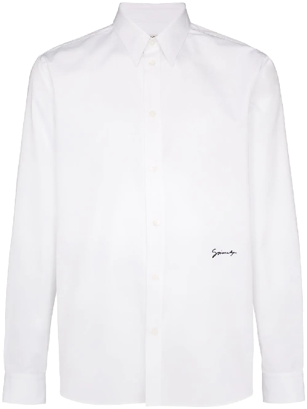Givenchy Logo Embroidery Cotton Blend Shirt In 116 Wht/blk