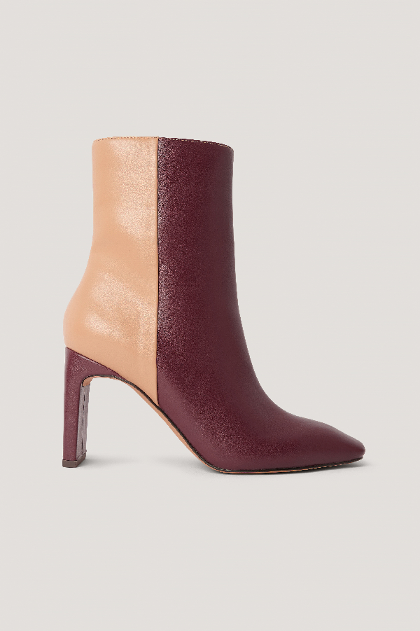 Na-kd Two Toned Square Toe Boots Multicolor