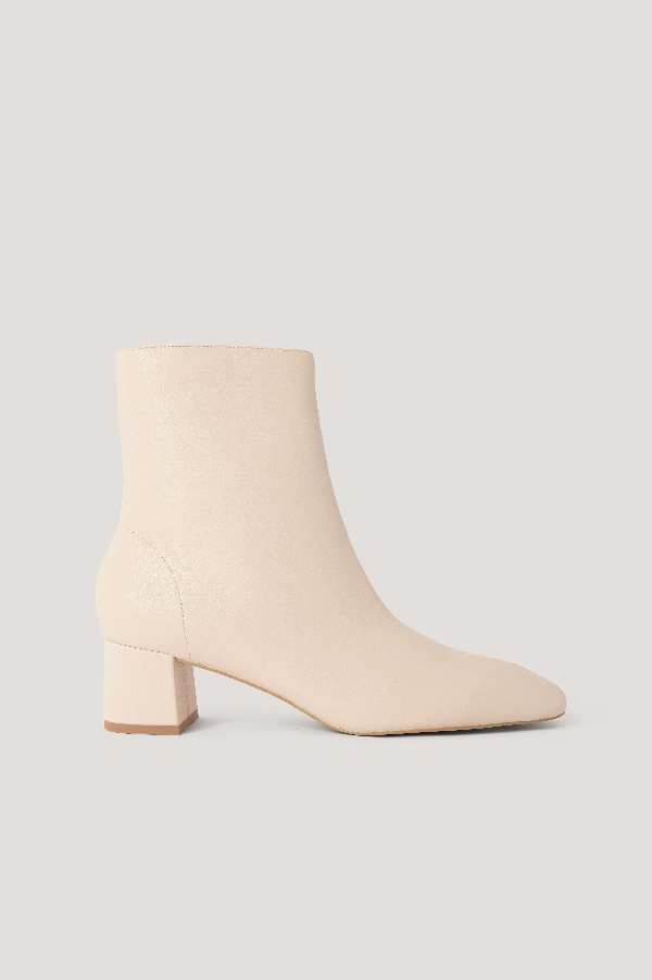 Na-kd Squared Slanted Toe Low Boots Beige