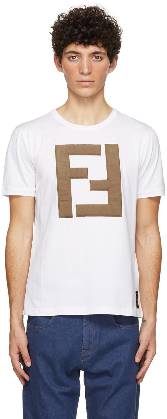 Fendi Maxi Ff Logo Cotton Jersey T-shirt In F0qa0 White