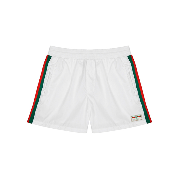 Gucci White Striped Swim Shorts In White/green/red