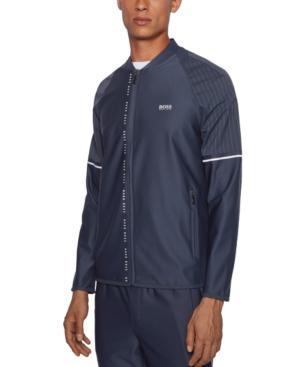 Hugo Boss Boss Men's Sariq Zip-through Logo Sweatshirt In Navy