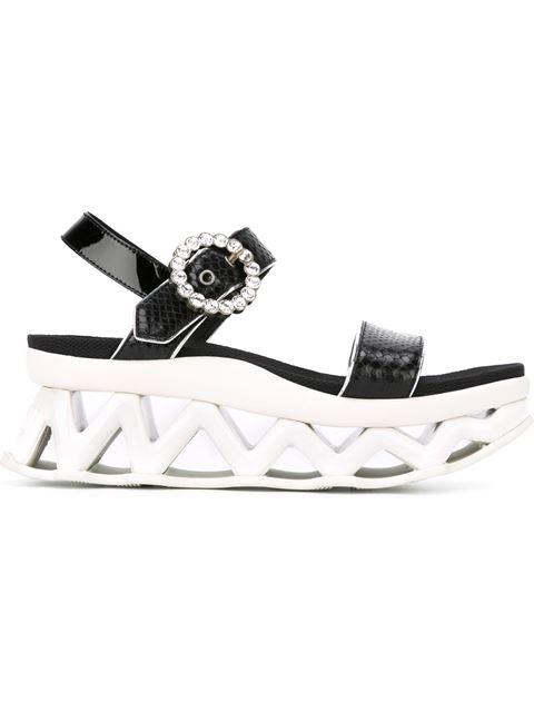Marc By Marc Jacobs Ninja Wave Snake-Embossed Leather Platform Wedge Sandals In Black
