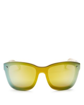 3.1 Phillip Lim Mirrored Square Shield Sunglasses, 152Mm In Panna/Silver/Yellow Mirror