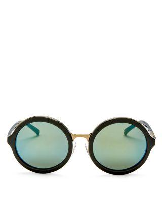 3.1 Phillip Lim Mirrored Round Sunglasses, 58Mm In Black/Dark Green Mirror
