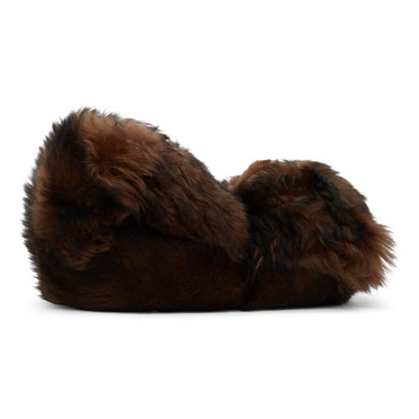 Vetements Hug Me Bear Shearling Slippers In Brown