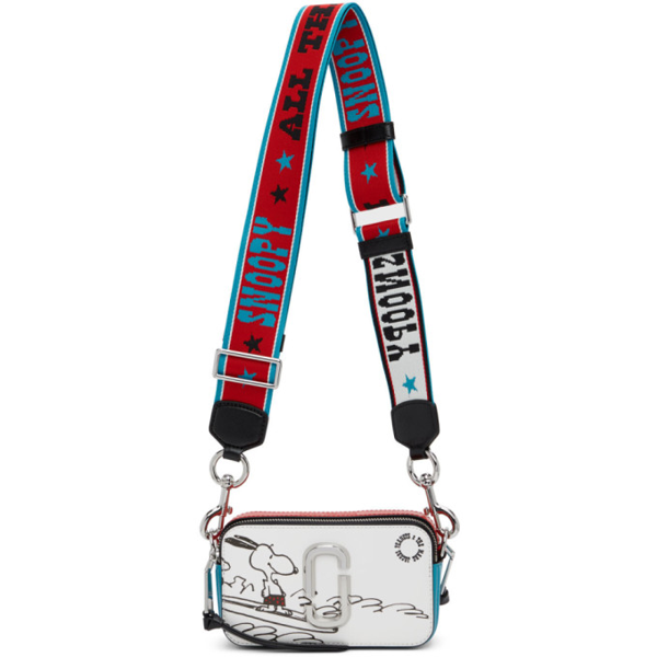 Marc Jacobs Red And Blue Peanuts Edition Snoopy Snapshot Shoulder Bag In 101 White M