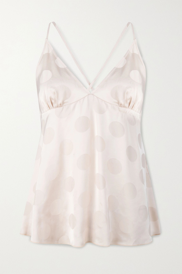 Love Stories Chili Polka-dot Satin-jacquard Camisole In Ivory