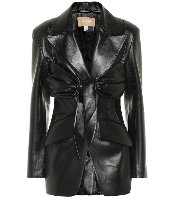 Matériel Tbilisi Faux Leather Blazer In Black