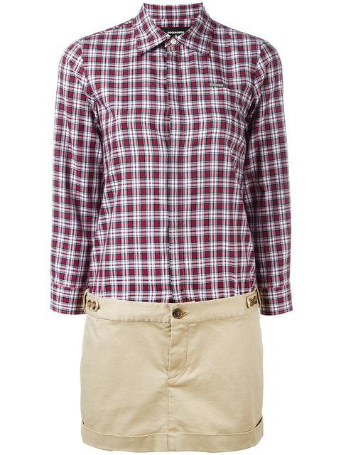Dsquared2 White-red-beige Checked Cargo Dress
