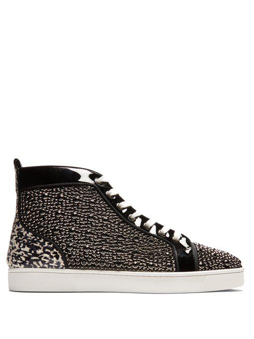 faaf1ce6101 Christian Louboutin Louis Orlato Flat Patent Leather   Snakeskin Sneakers  In Black