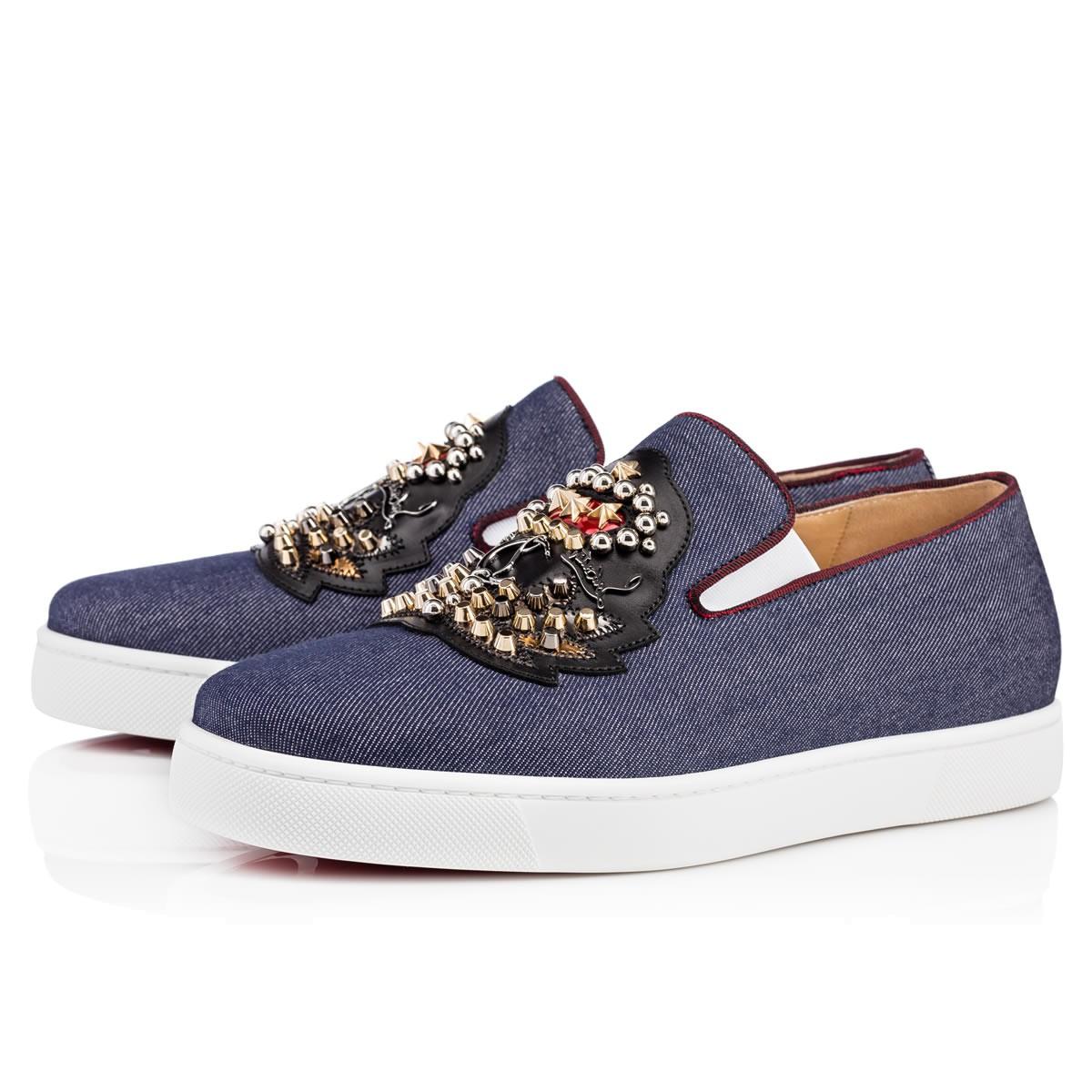 Ecuboat Flat Blue Denim Men Shoes Christian Louboutin