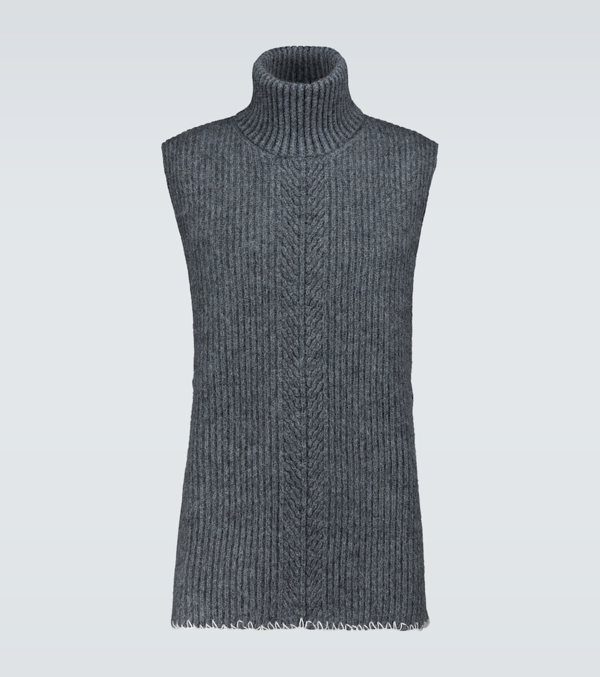 Maison Margiela Wool And Mohair Sleeveless Sweater In 860f Drkgr