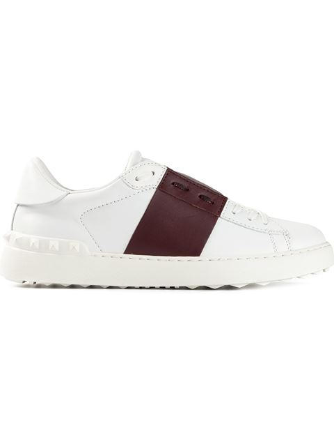 Valentino Open Rockstud Leather Sneakers In Liaeco