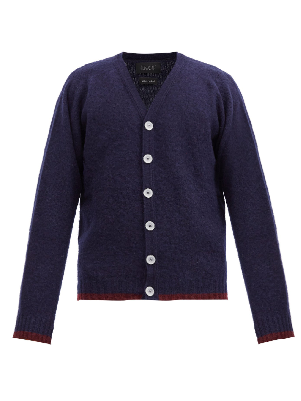 Howlin' Contrast-stripe Wool Cardigan In Navy