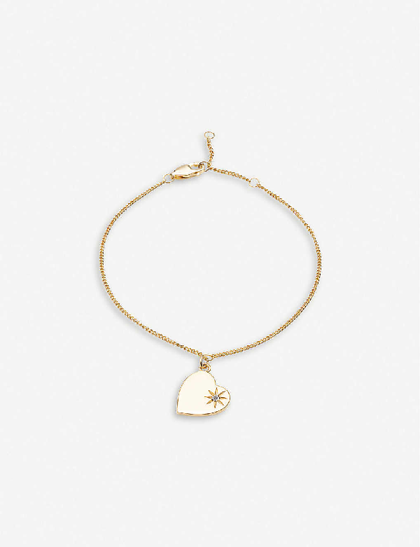 Rachel Jackson Heart 22ct Gold-plated Vermeil Sterling Silver And Diamond Bracelet