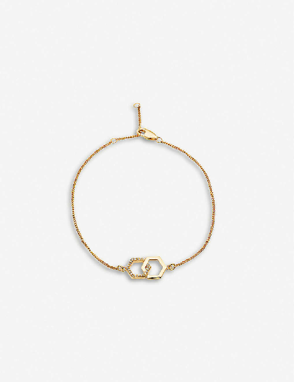Rachel Jackson Infinity 22ct Gold-plated Vermeil Sterling Silver And Diamond Hexagonal Bracelet In 22 Carat Gold Plated