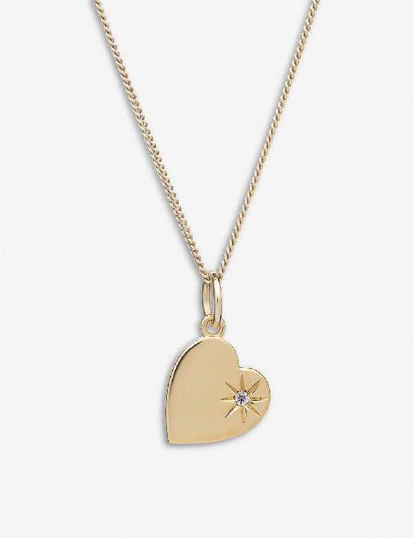 Rachel Jackson Heart 22ct Gold-plated Vermeil Sterling Silver And Diamond Necklace
