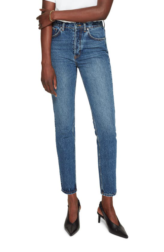 Anine Bing Sonya High Waist Slim Jeans In Blue