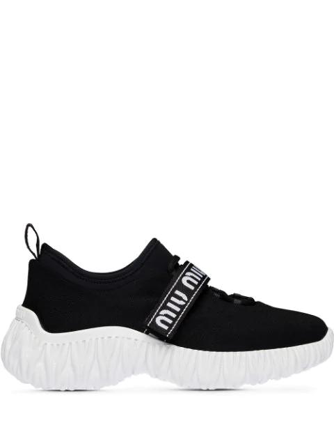 Miu Miu Women's Stretch-knit Sneakers In Black