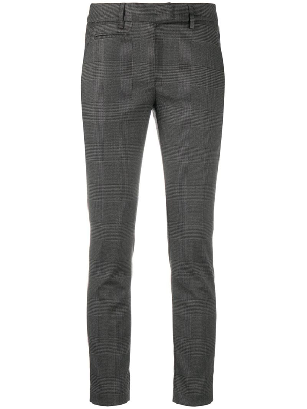Dondup Checked Slim-fit Trousers In Black