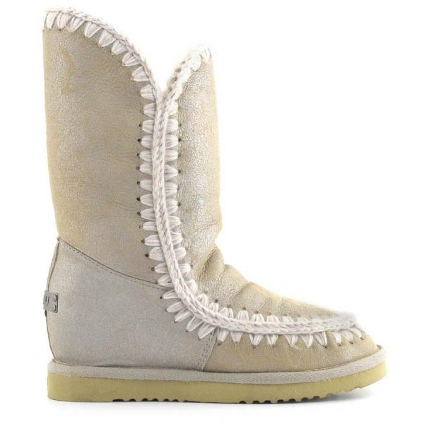 Mou Eskimo Wedge Tall In Stone Metallic