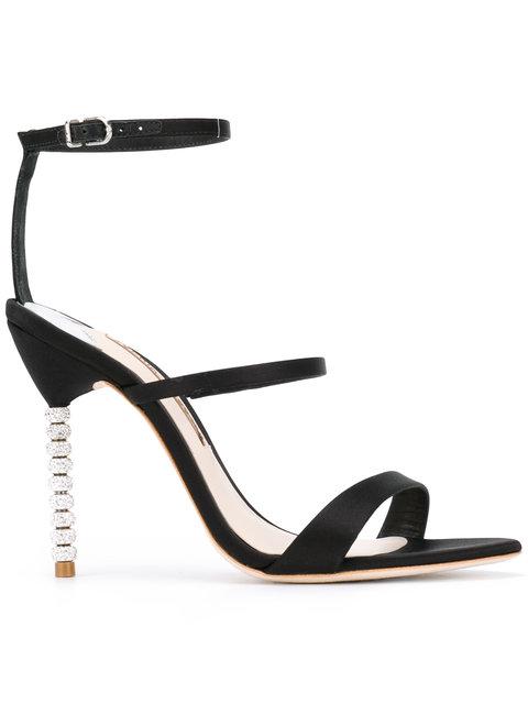 Sophia Webster Rosalind Embellished-Heel Satin Sandals In Black