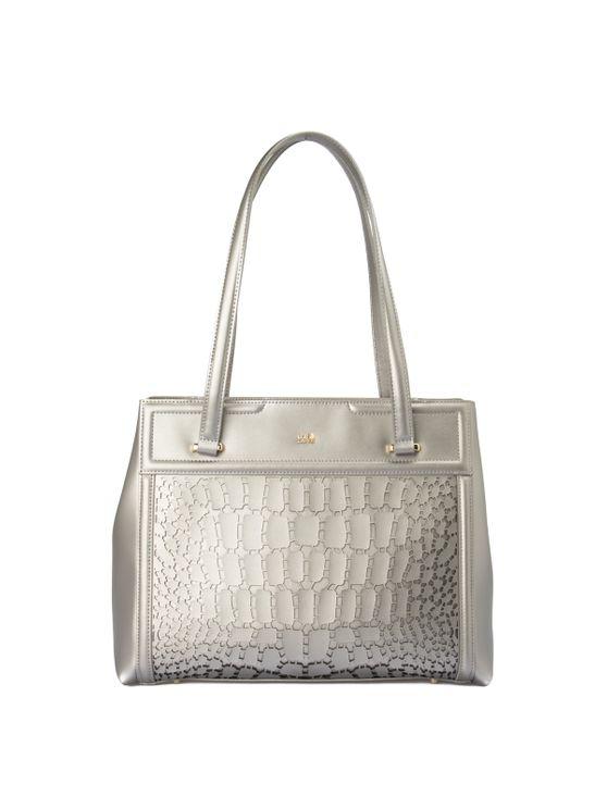 Cavalli Class Crocodilia Bag In Silver