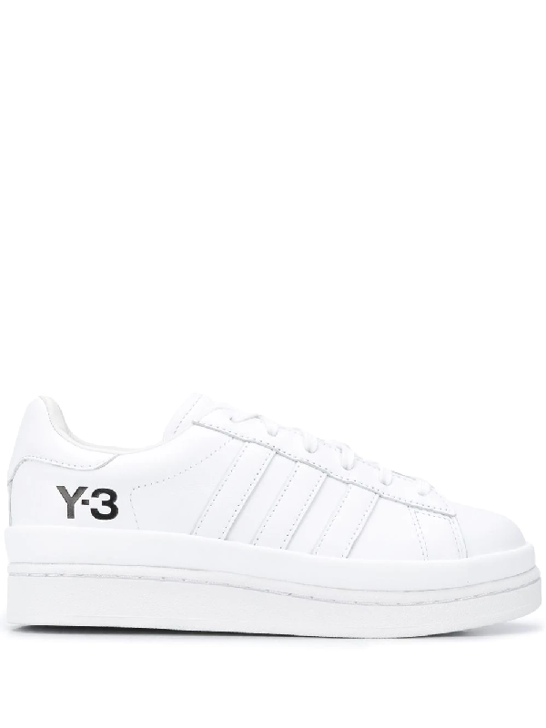 Y-3 White Hicho Flatform Leather Sneakers