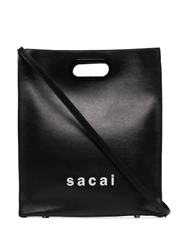 Sacai Black New Shopper Leather Tote Bag