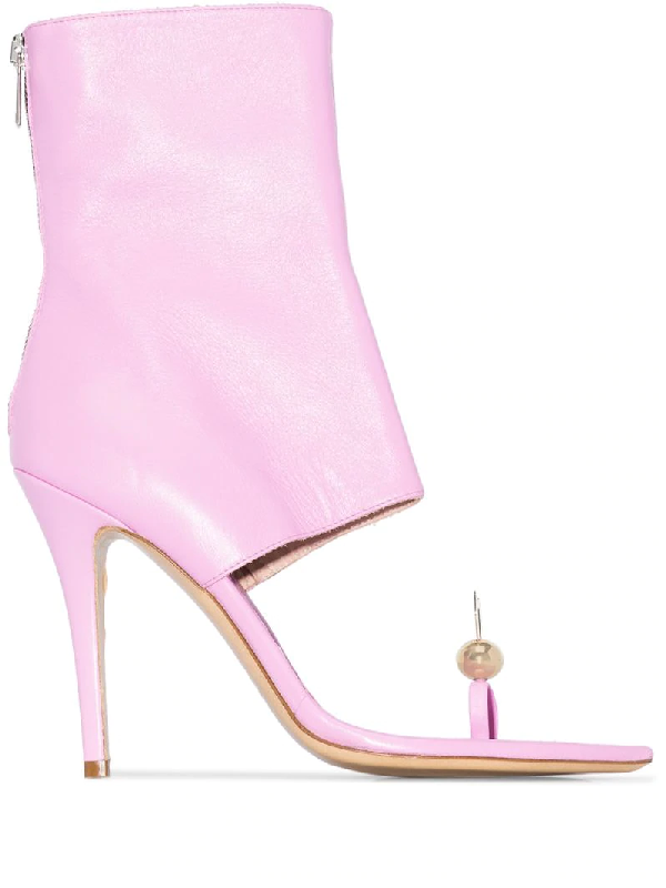Natasha Zinko Pink Rabbit Toe 110 Leather Ankle Boots