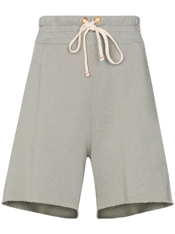 Les Tien Raw Hem Cotton Track Shorts In Grey