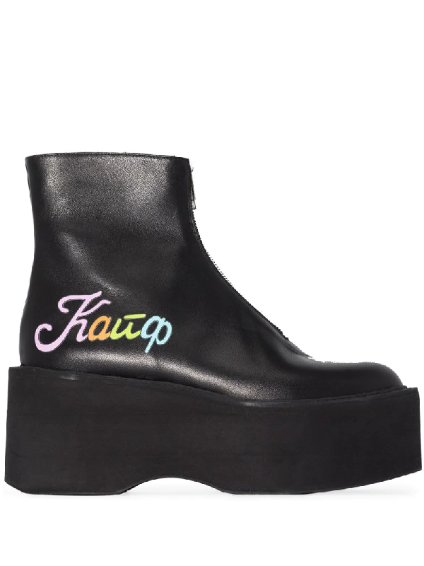 Natasha Zinko Black Kaif Flatform Leather Ankle Boots