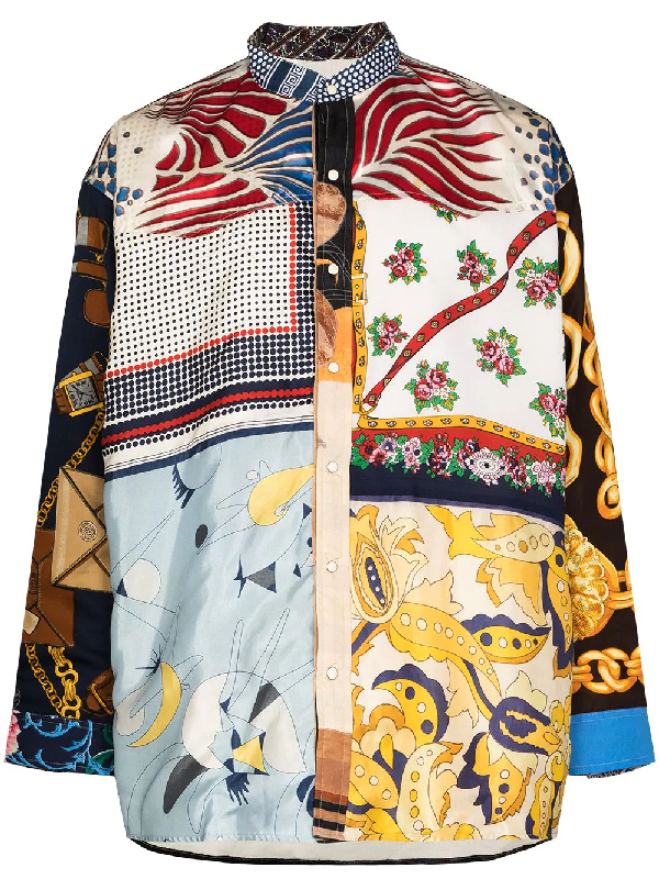 Children Of The Discordance Vintage Scarf Patchwork Shirt In Multicolour