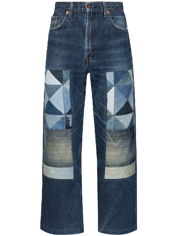 Children Of The Discordance Straight Leg Patchwork Jeans In Blue
