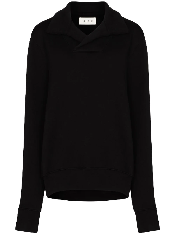 Les Tien Collared Cotton Sweatshirt In Black