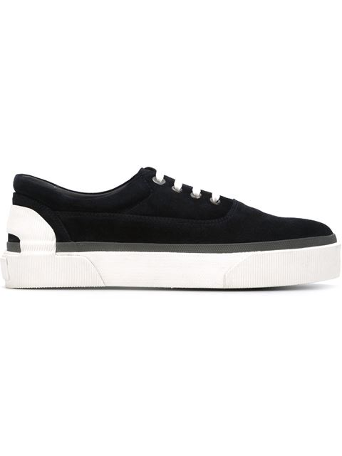 Lanvin Suede Lace-up Sneakers, Navy In Blue