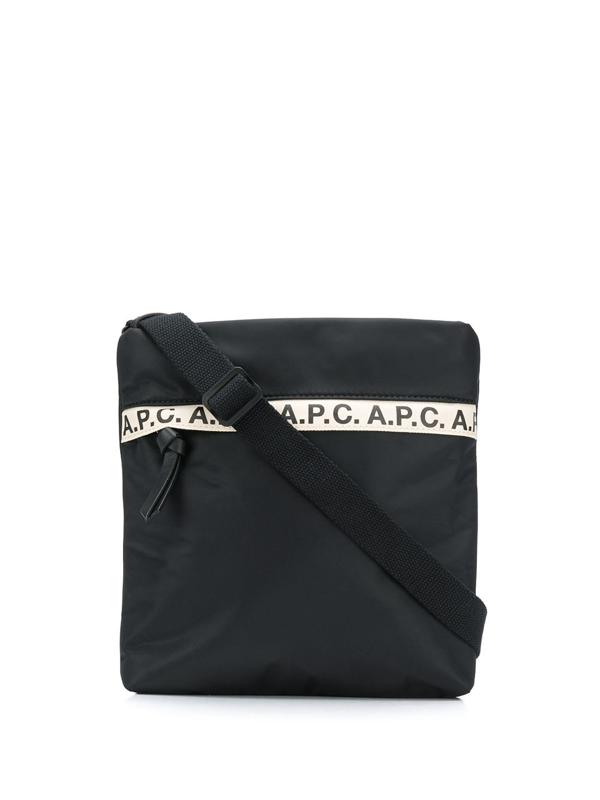 A.p.c. Black Polyester Messenger Bag In Lzz Noir