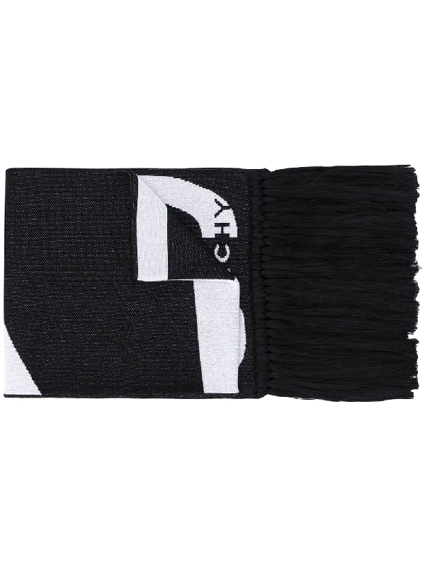 Givenchy Fringed Logo-jacquard Cotton Scarf In Black