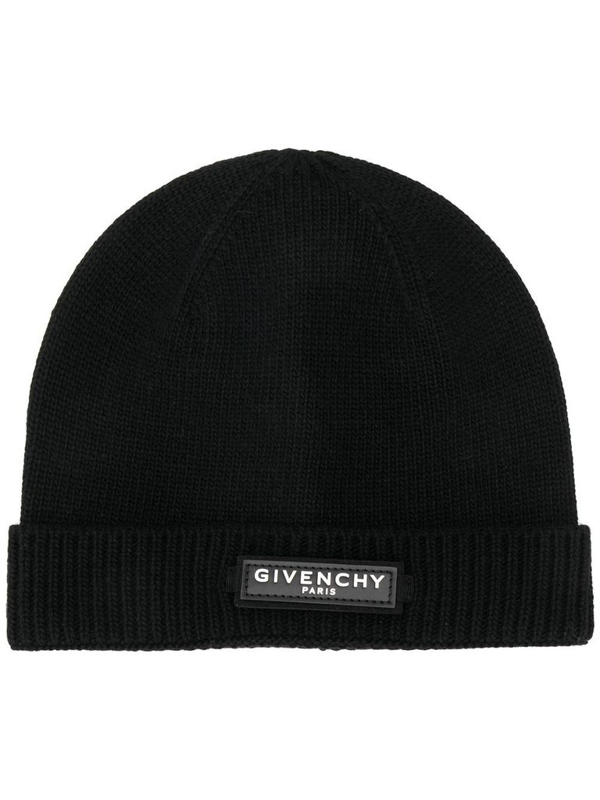 Givenchy Logo-patch Wool-blend Beanie Hat In Black