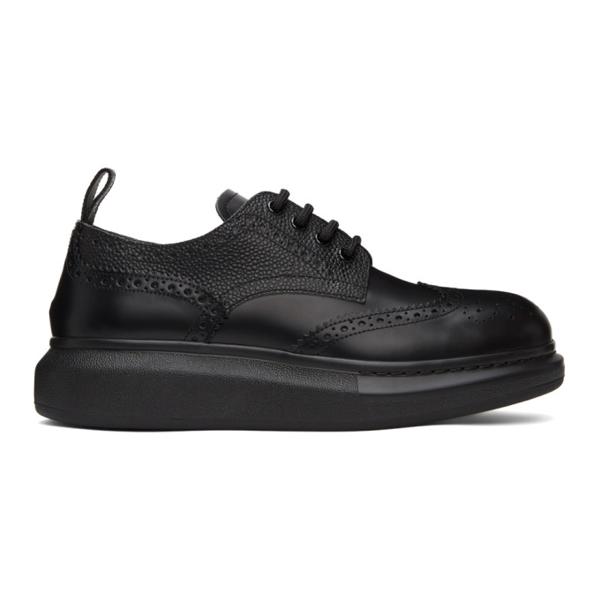 Alexander Mcqueen Hybrid Leather Derby Brogues In 1000 Black/black/bla