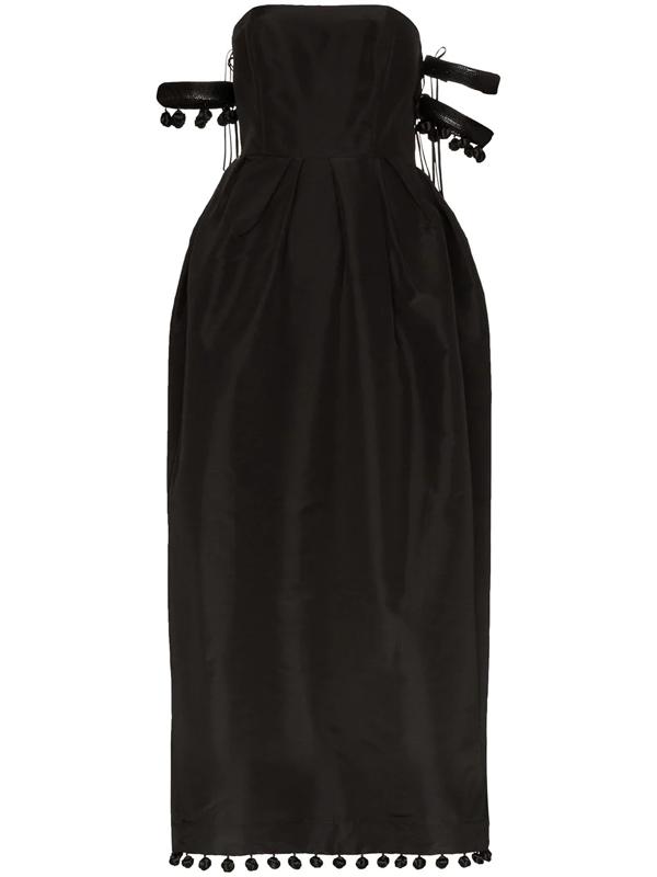 Rosie Assoulin Bangles & Bobbles Off-the-shoulder Embellished Silk-faille Maxi Dress In Black