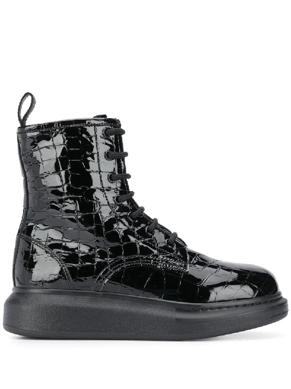 Alexander Mcqueen 40mm Hybrid Croc Embossed Leather Boot In Black