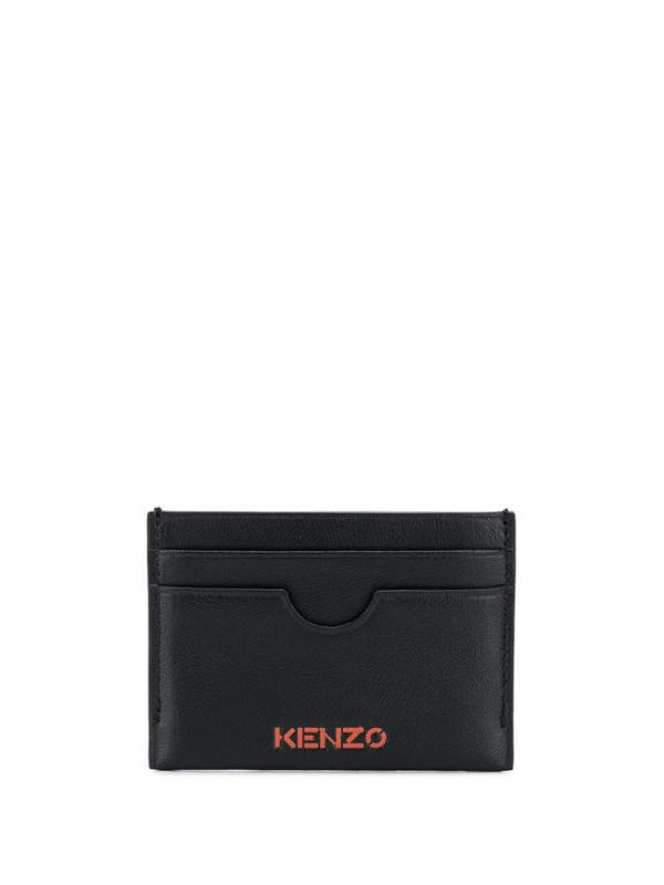 Kenzo Leather Logo Card Holder In Black