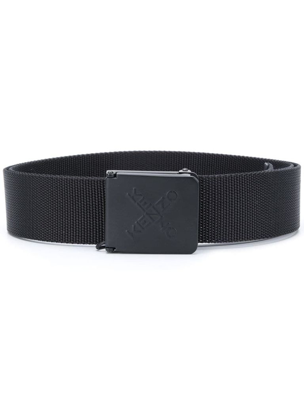 Kenzo Logo-engraved Buckle Belt In Black