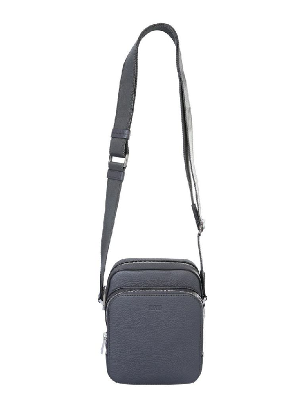 Hugo Boss Grey Leather Messenger Bag