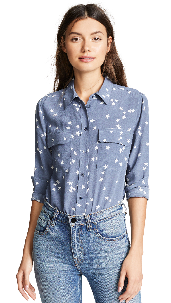 Equipment Slim Signature Printed Washed-silk Shirt In Storm Blue