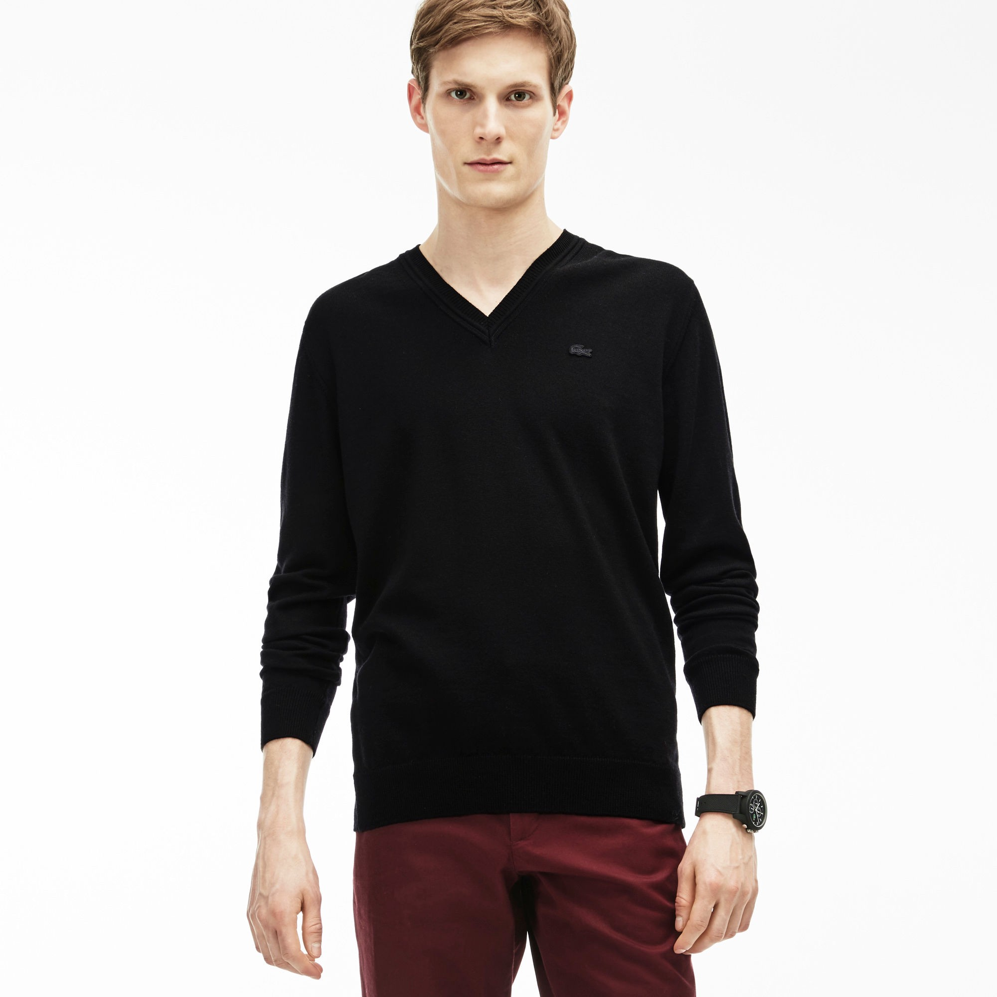 Lacoste Cotton Jersey V-neck Sweater In Black